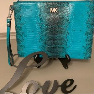 Authentic Michael Kors Snake-Embossed MD Zip Pouch